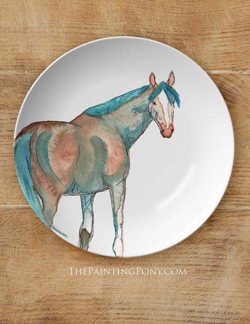 "Watercolor Horse Art Equestrian 10"" Plate"