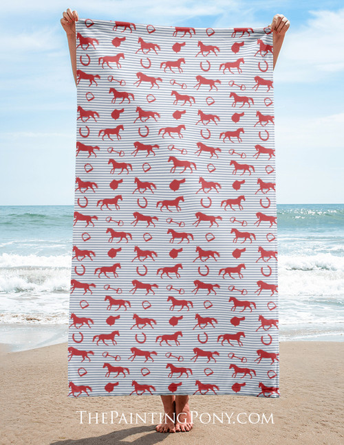 English Horse Pattern Equestrian Beach Towel