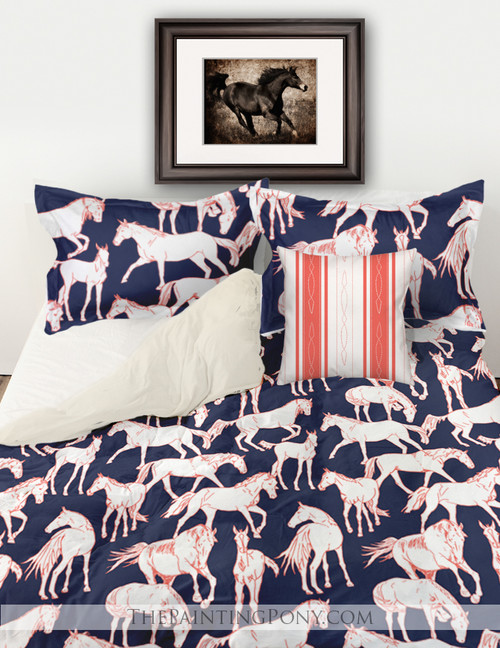 Horses All Over Blue Bedding Set