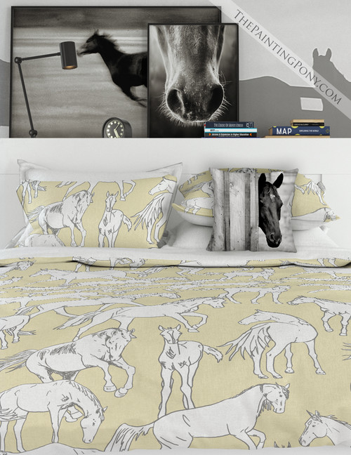 Horses All Over Blue Bedding Set (More Colors Available)