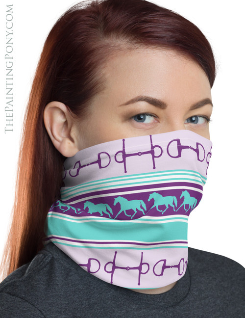 Trotting Horses and Bits Striped Equestrian Neck Gaiter (More colors Available)
