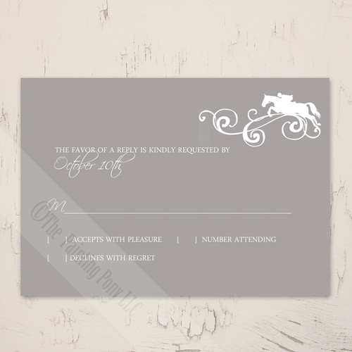 Jumping Horse Flourish Equestrian Wedding RSVP card