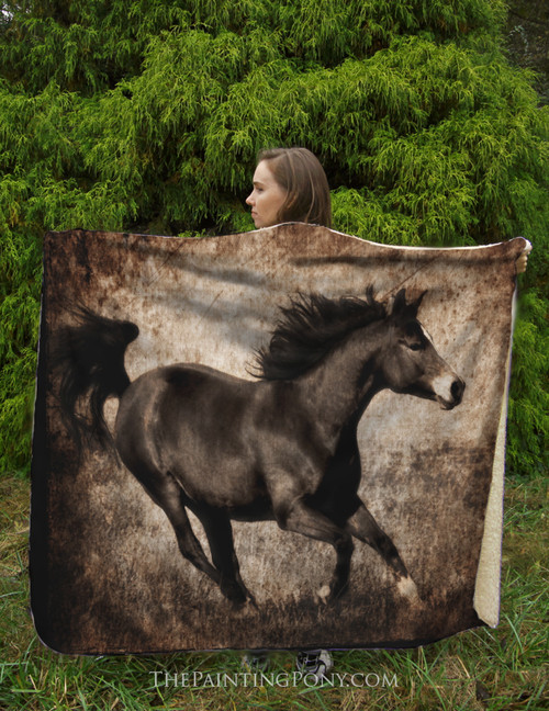 Galloping Horse Equestrian Fleece Throw Blanket
