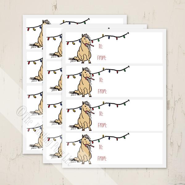 Holiday Christmas Pony Gift Tag Labels