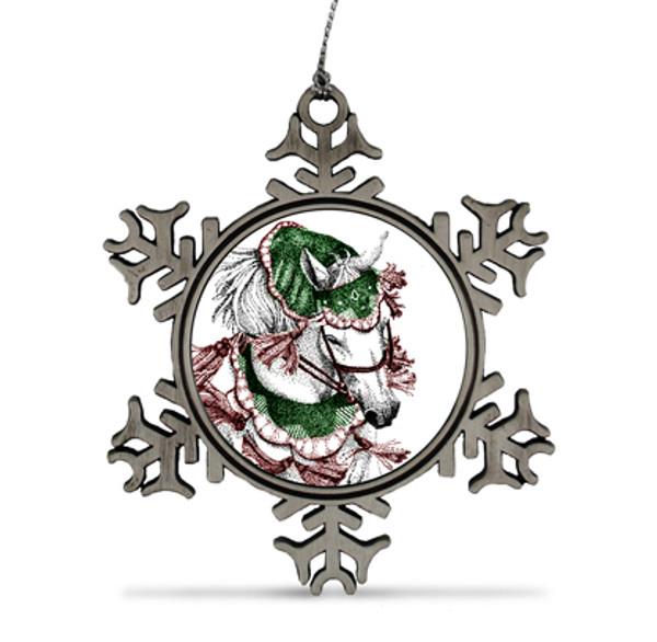 Pewter Snowflake Arabian Horse Ornament