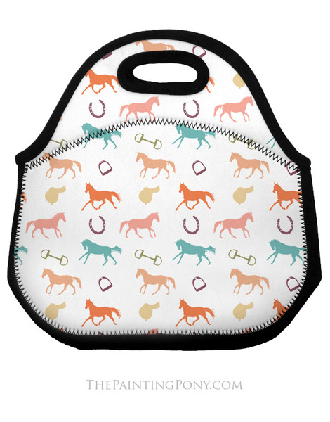 English Horses Pattern Equestrian Lunch Tote Bag