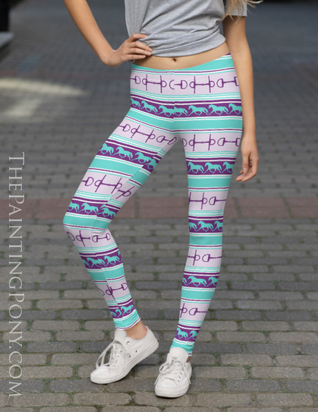 Trotting Ponies and Bits Striped Equestrian Leggings (More Colors Available)
