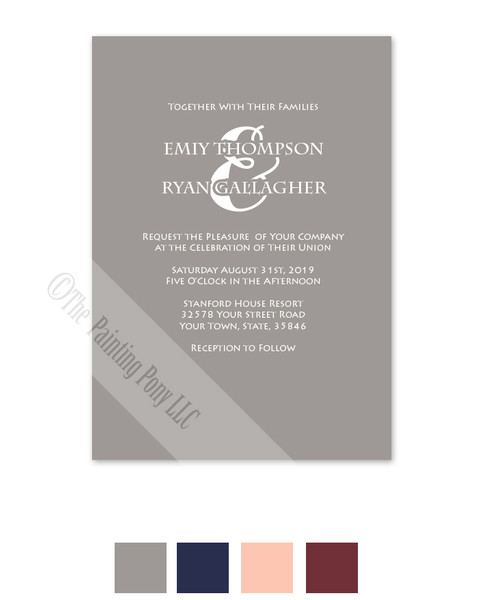 Simple and elegant typography Wedding Invite in gray