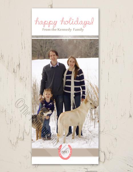 Equestrian Horse Shoe Tall Photo Christmas Card