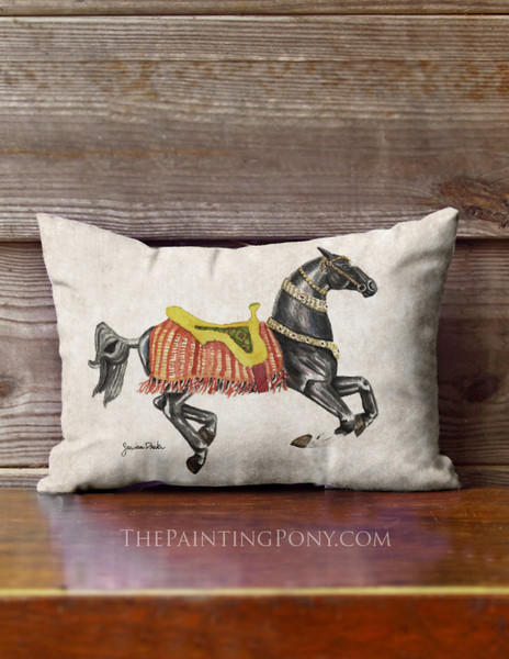 Akahl-teke Carousel Horse Equestrian Accent Pillow