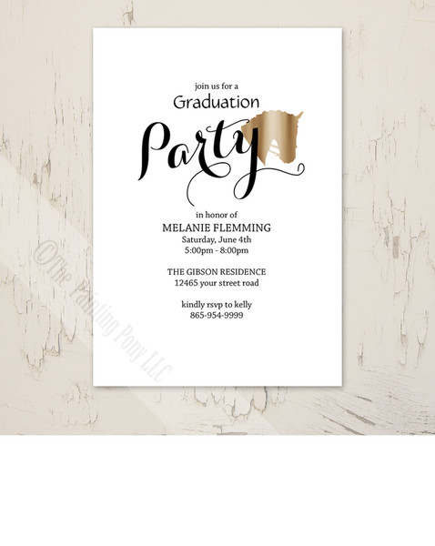 Horse Head Equestrian Photo Graduation Party Invite (10 pk)