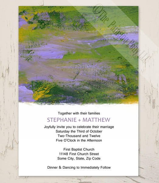 Purple and Green Abstract Painting Wedding Invitation (10 pk)