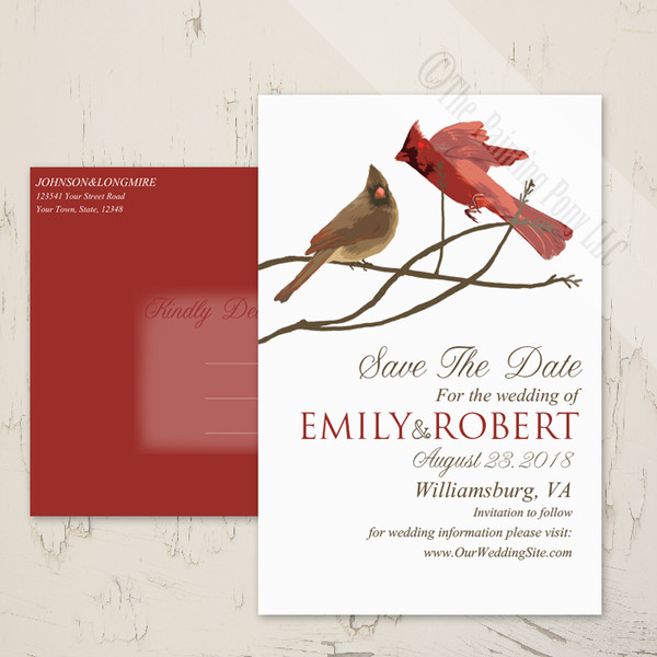 Winter Cardinals Save the date postcards