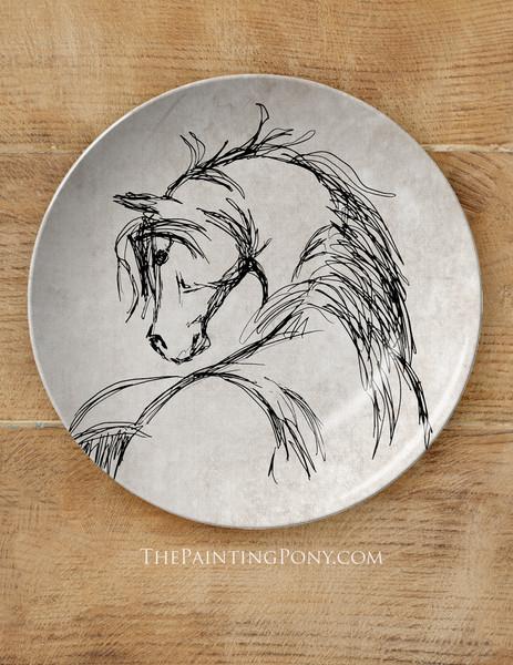"""Rustic Horse Head Sketch Equestrian 10"""" Plate"""