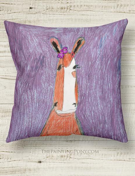 Cute Kid Art Chestnut Pony Equestrian Throw Pillow