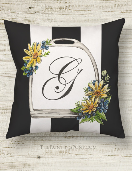 Monogram Horse Stirrup Equestrian Throw Pillow