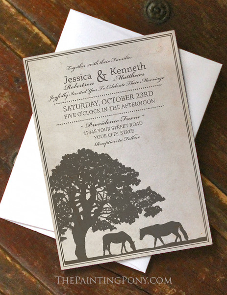 Rustic Horse Farm Wedding Invitation (10pk) (other colors available)