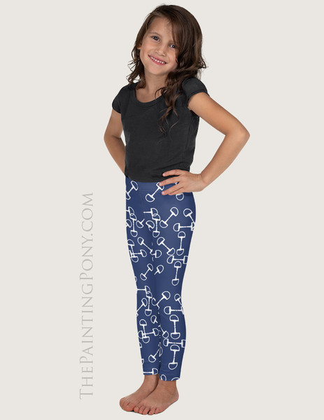 Horse Snaffle Bit Pattern Equestrian Kids Leggings (More Colors Available)