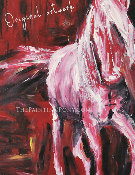 White Horse - Original Arcylic on Canvas Abstract Equestrian Painting
