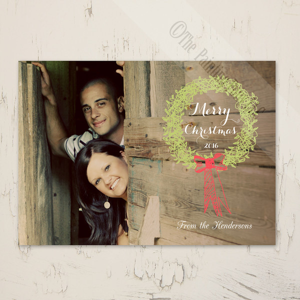 Whimsical Holiday Wreath Photo Template Greeting Cards