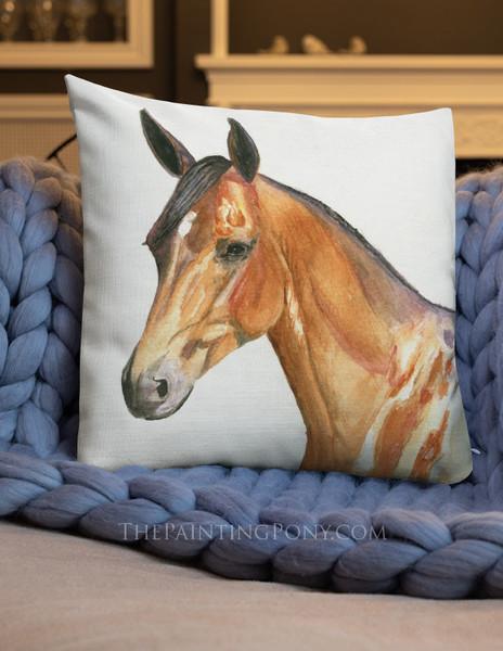 Bay Horse Head Art Equestrian Throw Pillow