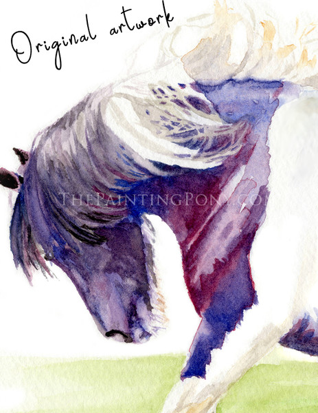 """Original """"Feathers"""" Gygpsy Vanner Equestrian Watercolor Painting - Framed/Matted"""