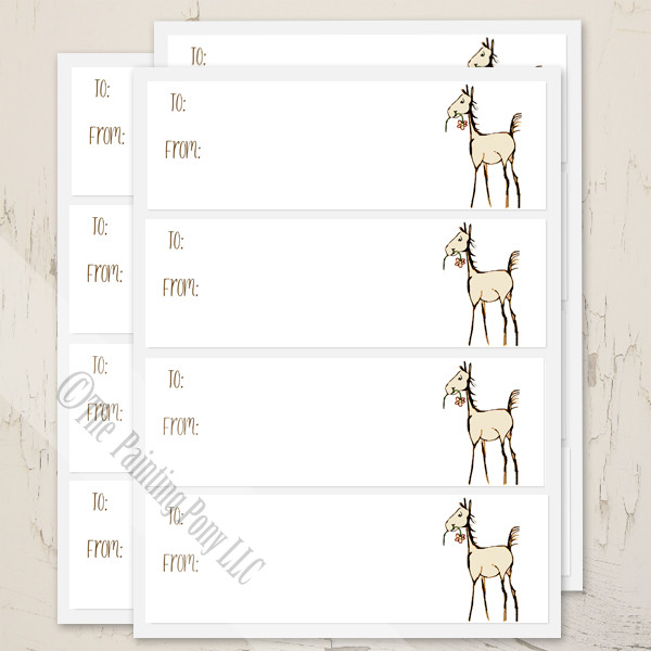 Horse Foal Baby Shower Gift Tag Labels