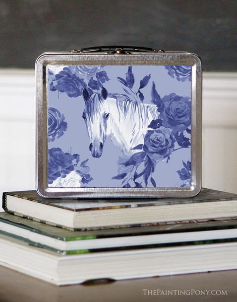 Blue Country Floral Horse Head Lunch Box