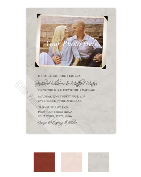 Vintage Photo Album Page Wedding Invitation