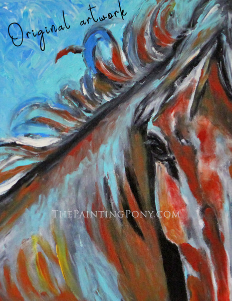 Red Pony - Original Arcylic on Canvas Abstract Equestrian Painting 16x20