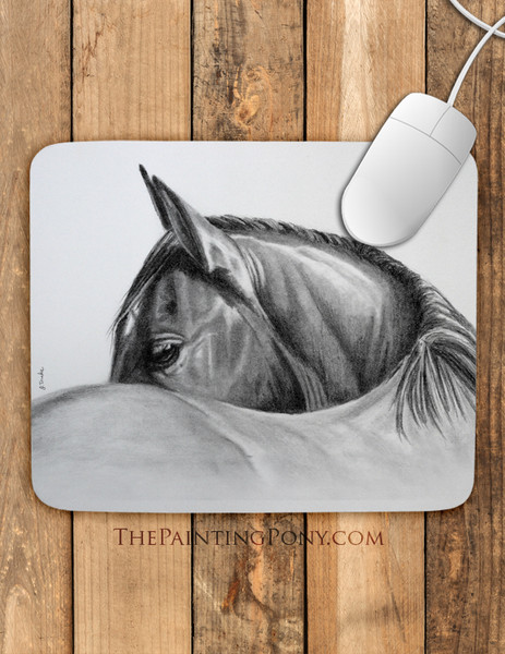Horse Head Equestrian Art Mouse Pad