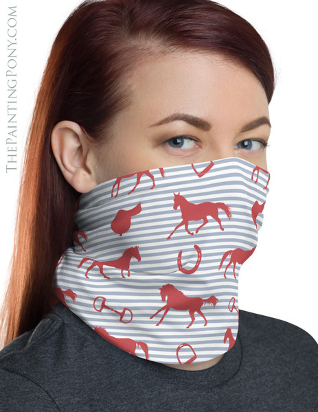 Horses and Saddles Pattern Equestrian Neck Gaiter