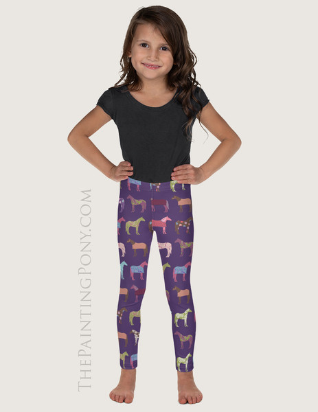 Fun Colorful Horse Pattern Equestrian Kids Leggings