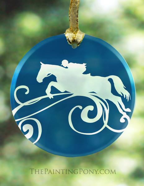 Blue Jumping Horse Frosted Glass Christmas Ornament