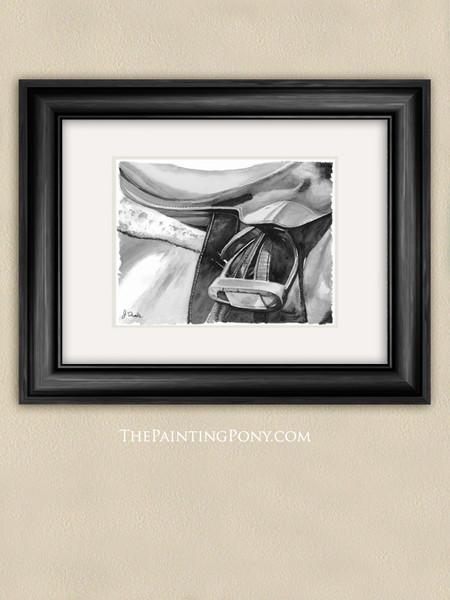 Black and White Watercolor Egnlish Horse Saddle Art Print