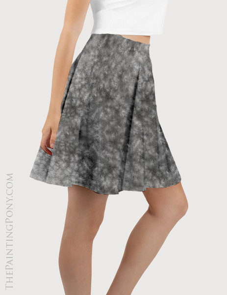 Dappled Gray Horse Pattern Equestrian Flare Skirt