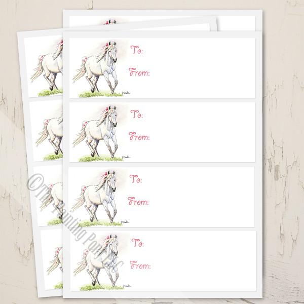 Whimsical White Pony Birthday Gift Tag Labels