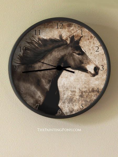 Rustic Horse Head  Wall Clock