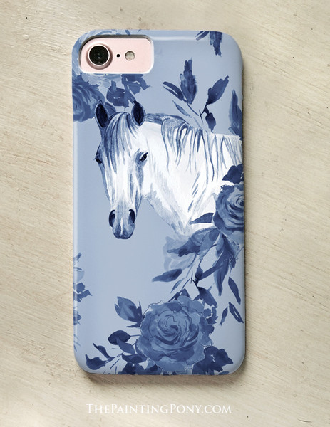 Floral Horse Head Equestrian Pattern Phone Case