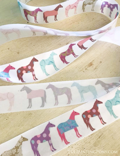 Colorful Fun Horse Pattern Equestrian Ribbon