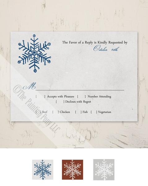 Simple Snowflake Wedding RSVP card (10 pk)