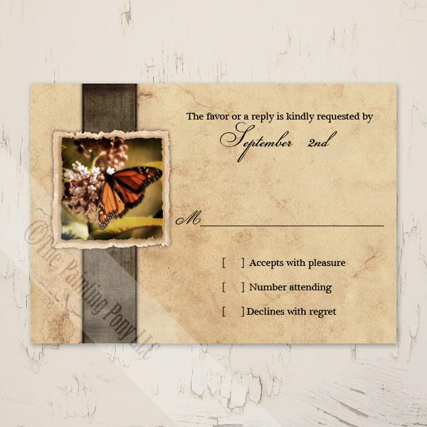 Vintage Monarch Butterfly Wedding RSVP Cards (10 pk)