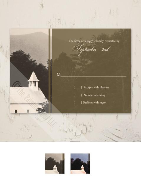 Rustic Old Mountain Church Wedding RSVP card (10 pk)