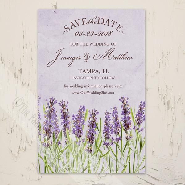 Vintage Lavender Flowers Wedding Save The Date Postcards (25 pk)