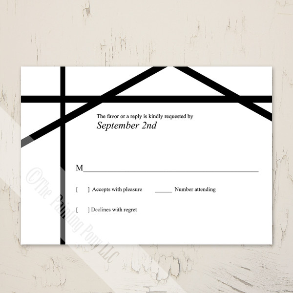 Modern Art Abstract Lines Black and White Wedding RSVP card (10 pk)