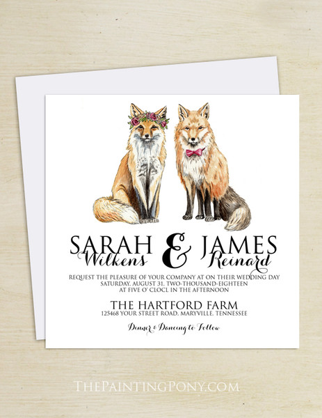 Bohemian Foxes Wedding Invitation (25 pk)
