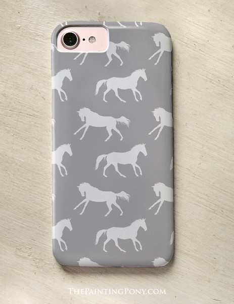 Classic Gray Horse Pattern Phone Case