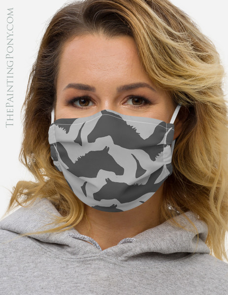 Horse Head Camo Pattern Face Mask Coverlet