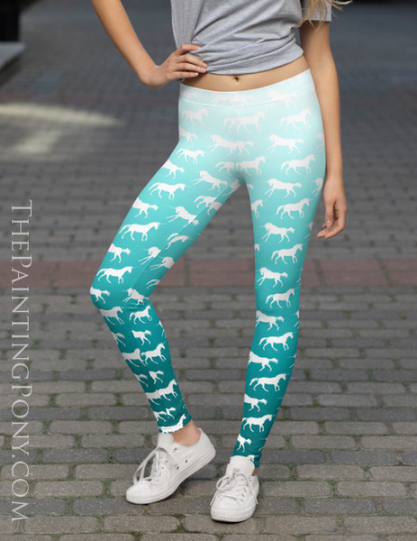 Ombre Unicorn Pattern Equestrian Leggings (More Colors Available)