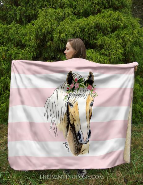 Haflinger Horse Sherpa Fleece Throw Blanket